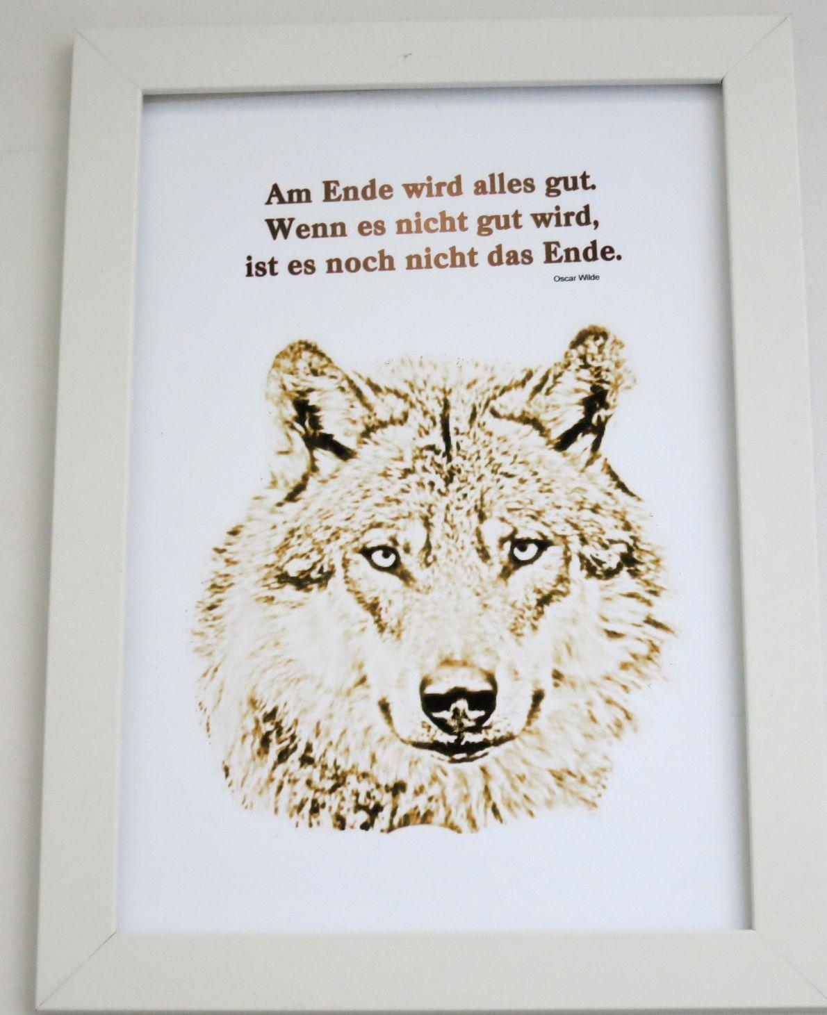 Kunstdruck, Wandbild, Wolf mit Spruch - Kreawusel-handmade
