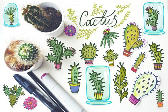 Check out Cacti set by marushabelle on Creative Market
