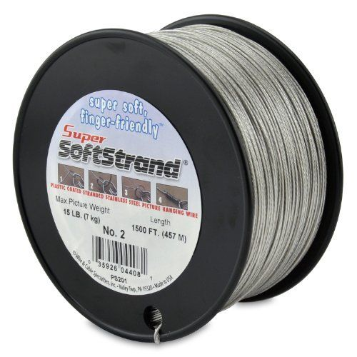 Supersoftstrand Size 2 1 500 Feet Picture Wire Vinyl Coated Stranded Stainless Steel By Wire Cable Specialties Picture Wire Foot Pictures Nails And Screws