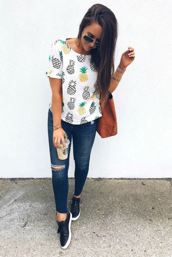 cfeeaf00bc Allover Pineapple Print Roll Cuff T-shirt | Pineapple everything ...