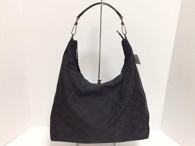 08a25280111 Auth GUCCI GG 96055 Black Nylon Jacquard Leather Shoulder Bag (eBay Link)