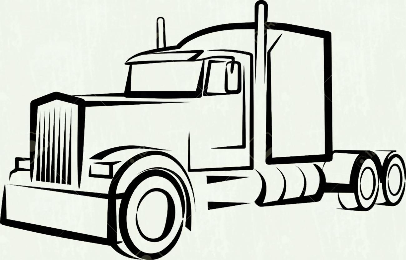 Truck Clipart Illustration By Dennis Holmes Designs Truck Tattoo Semi Trucks Truck Coloring Pages