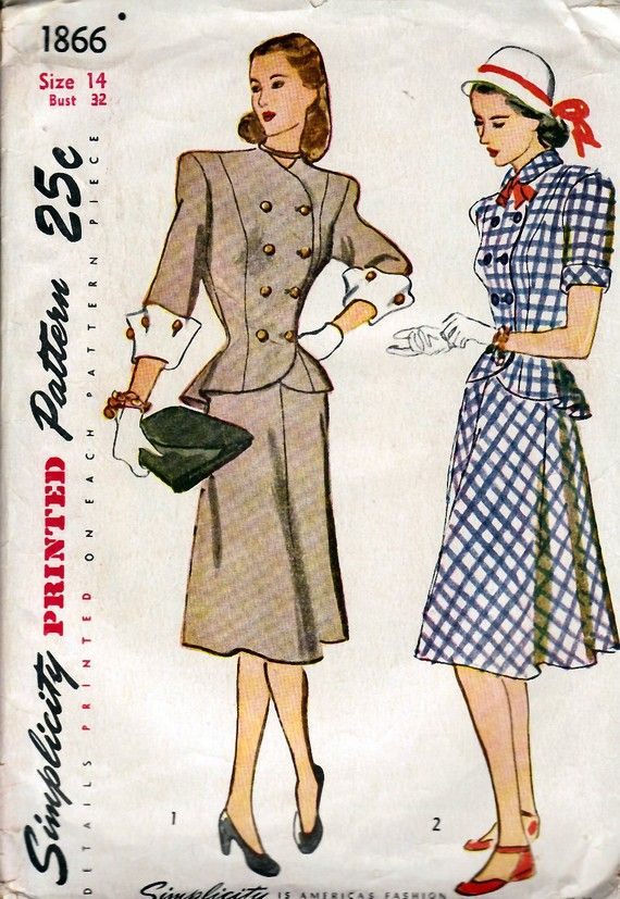 1940 S Misses Two Piece Dress Simplicity 1866 Size 14 Bust 32