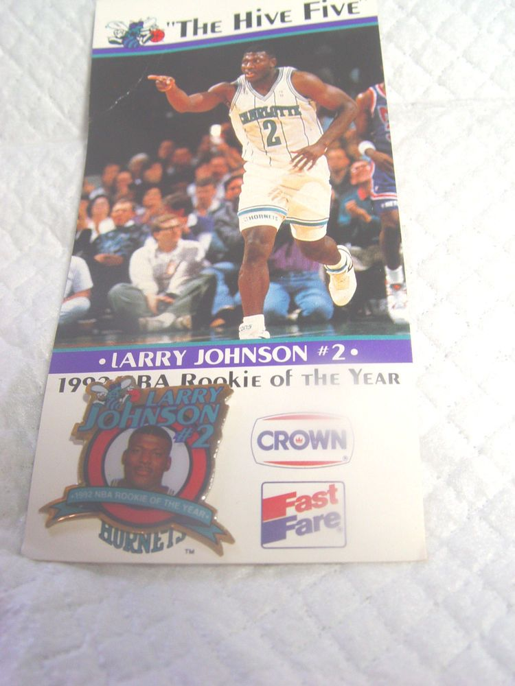Larry Johnson 2 1992 Nba Rookie Of The Year Metal Pin The