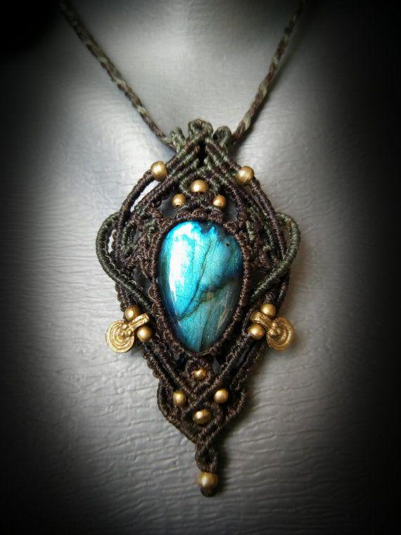 Blue labradorite macrame pendant necklace with brass beads healing blue labradorite macrame pendant necklace with brass beads healing necklace crystal bohemian mozeypictures Choice Image