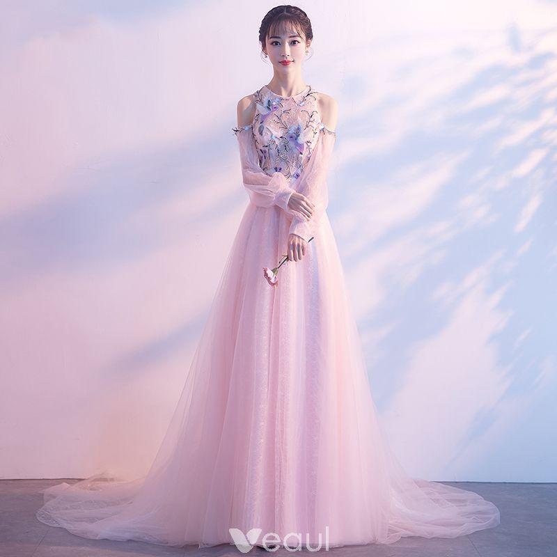 Elegantes Perla Rosada Vestidos de noche 2018 A-Line / Princess ...