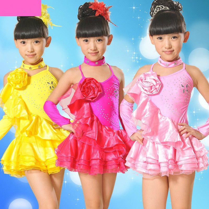 a54660303 Girl Kids 3 Color Dance Wear Standard Latin Competition Dress ...