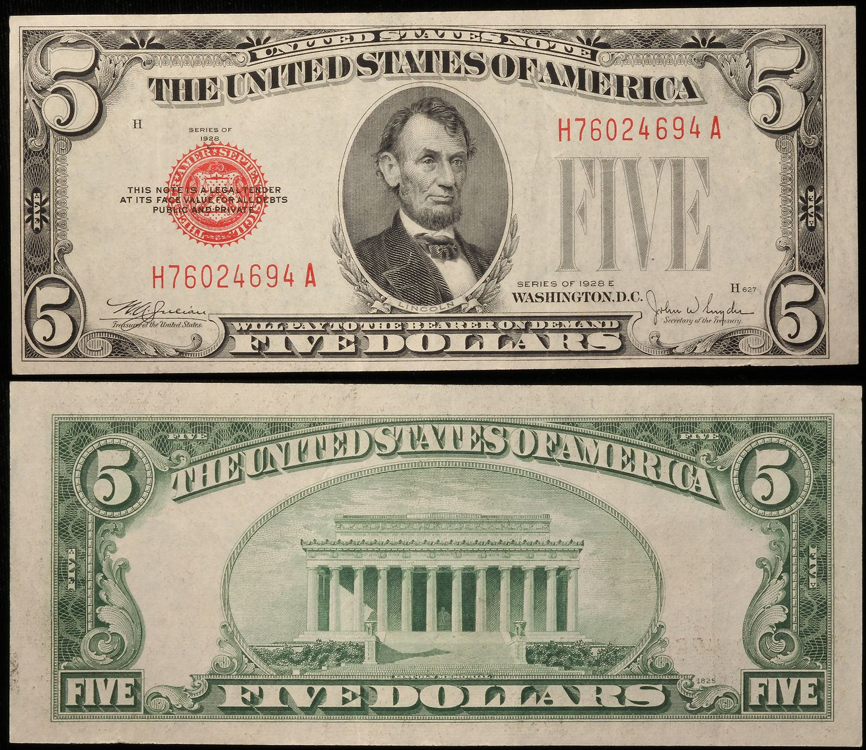 1953 Five Dollar Silver Certificate $ 5.00 Vintage Money C A Note Blue Seal