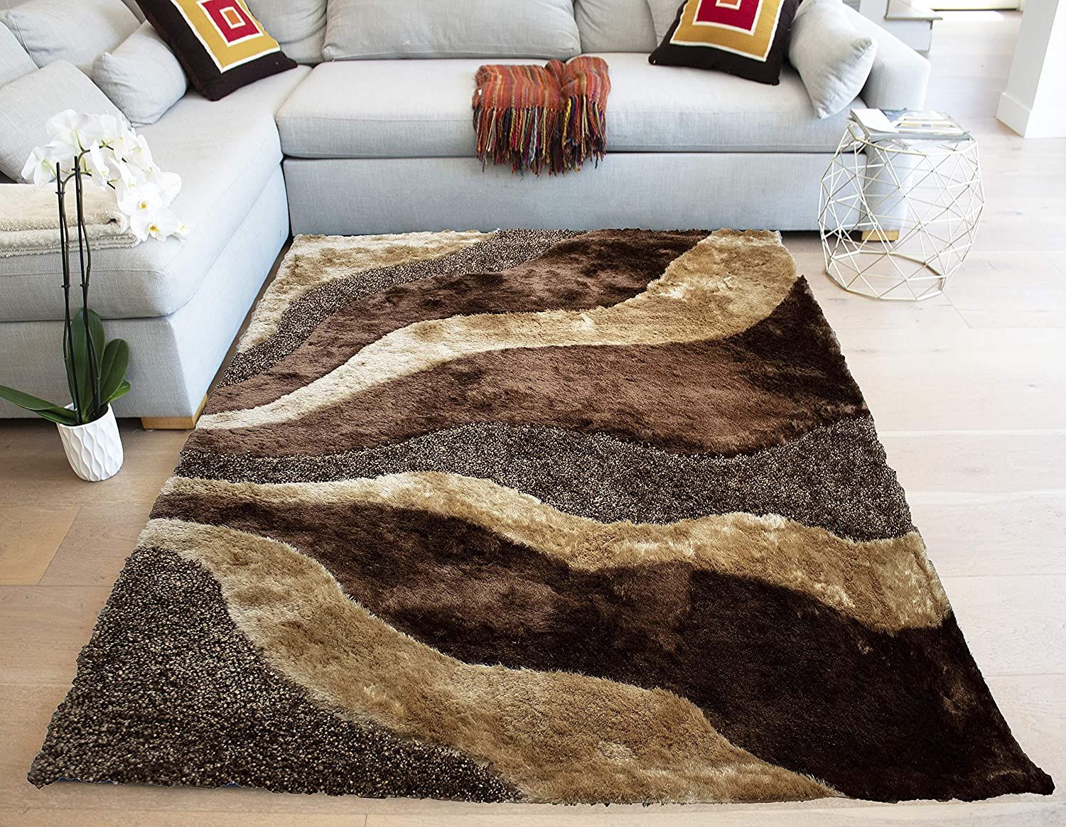 Rolex Shaggy Shag Collection Glamorous Plush Brown Beige Area Rug Carpet 8a X10a Feet Soft Plush Modern Contem Rugs On Carpet Brown Carpet Quality Area Rugs Center rugs for living room