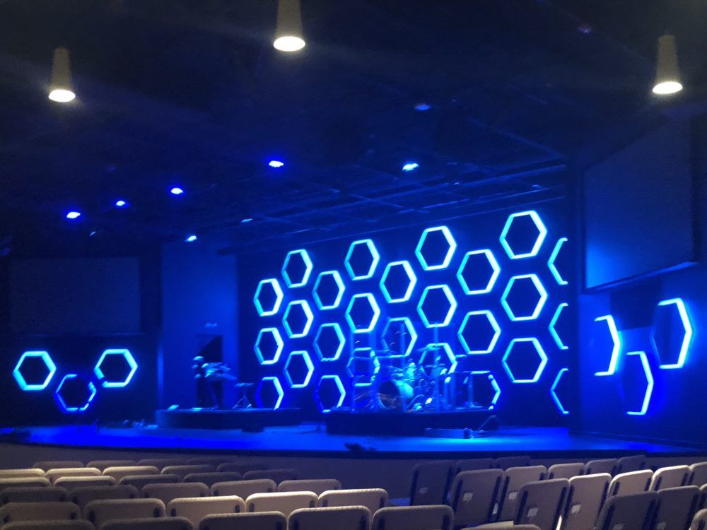 Those Hexagons Are Lit Church Stage Design Church Stage Design Ideas Backdrops Church Stage