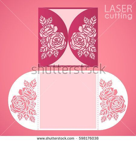 Vector die laser cut envelope template with rose flower wedding laser cut wedding invitation card template vector with rose flowers cutout paper gate fold card for laser cutting or die cutting template stopboris Choice Image