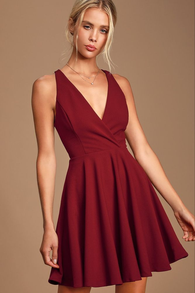 Cute Wine Red Dress - Twist Back Skater Dress - Skater Dress  The Effective Pictures We Offer You About REd dress indian   A quality picture can tell you many things. You can find the most beautiful pictures that can be presented to you about  REd dress with sleeves  in this account... #dress #red #red dress #red dress Classy #red dress Cocktail #red dress Formal #red dress Long #red dress Makeup #red dress Outfit #red dress Prom #red dress Short #red dressCasual #Skater #Twist #Whirl #Wine