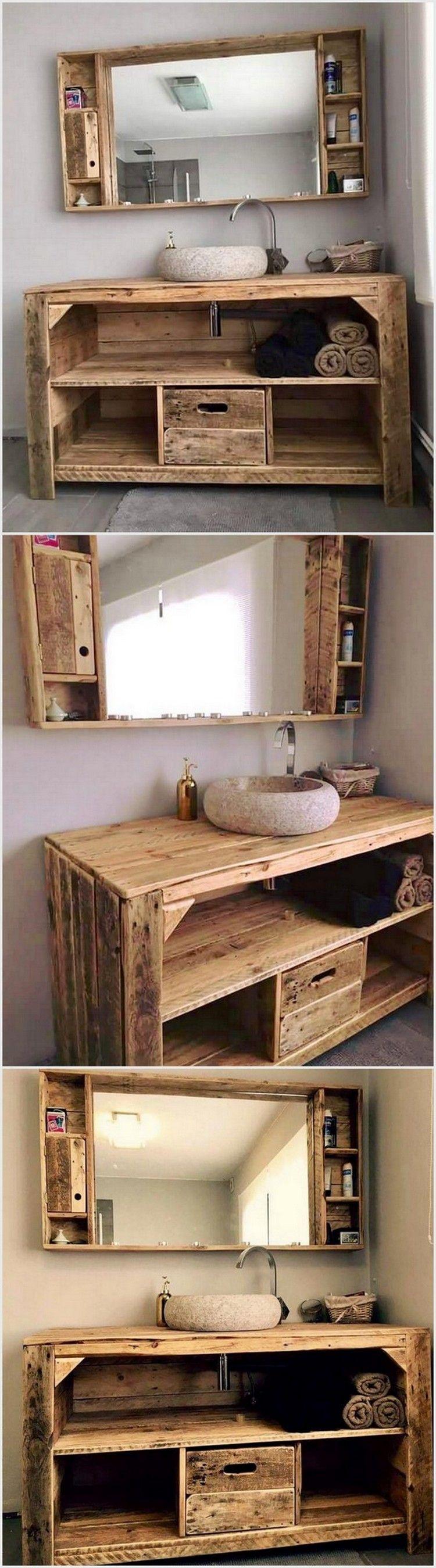 We Have Created This Awesome Pallet Wood Creation For Bathroom You Can Place This Furn Decoration Salle De Bain Salle De Bains Palette Meuble De Salle De Bain