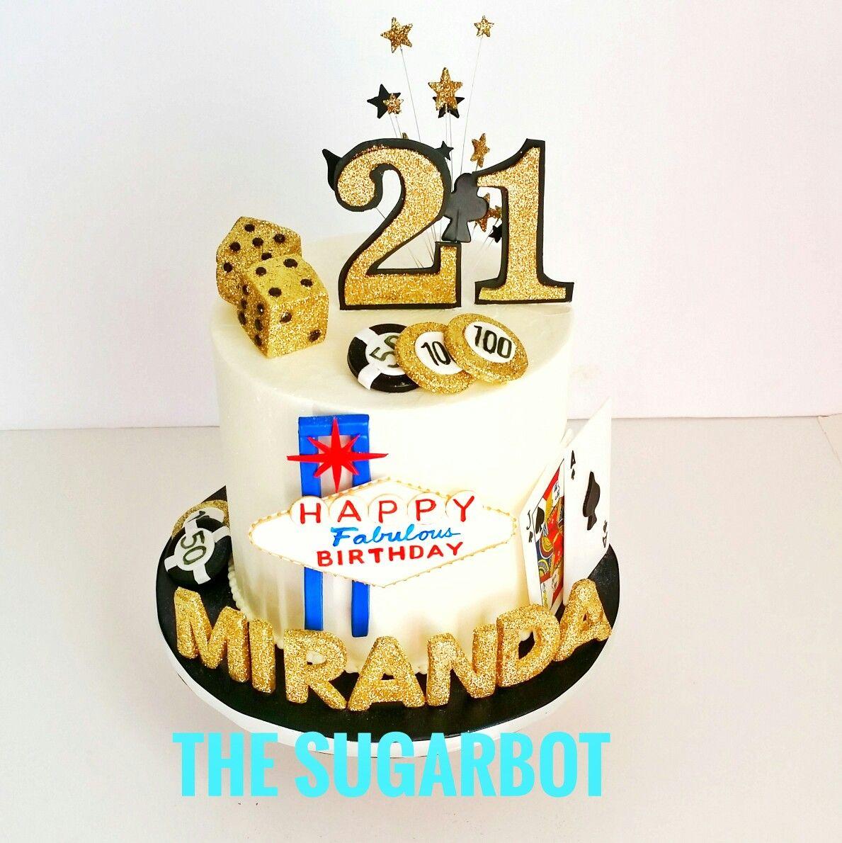 Las Vegas Theme 21st Birthday Cake black and gold glitter theme
