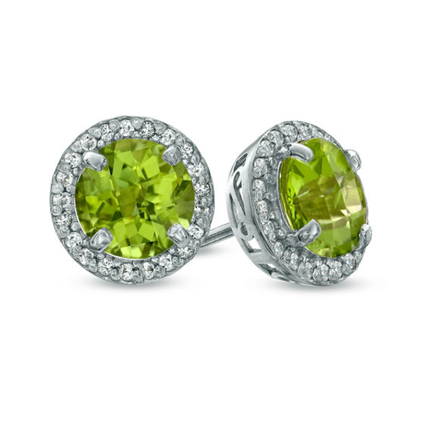 7 0mm Peridot And Lab Created White Sapphire Frame Stud