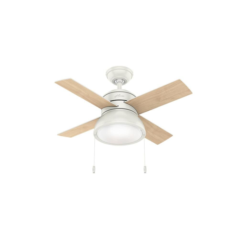 Hunter Loki 36 In Integrated Led Indoor Fresh White Ceiling Fan With Light Kit 59385 The Home Depot Ceiling Fan With Light Ceiling Fan White Ceiling Fan 36 inch ceiling fan with light