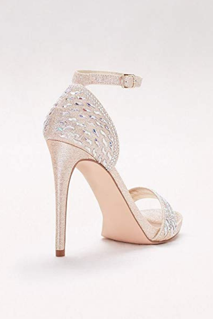 715cd7df392 David s bridal wedding shoes  nude cute bridal shoes with high heels  perfect for brides and wedding day.  Metallic Ankle-Strap Sandals  Iridescent Gems Style ...