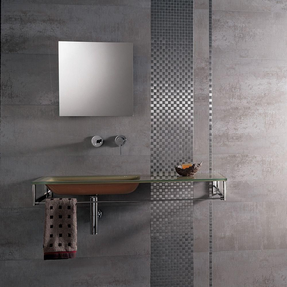 PORCELANOSA  In X  In Ferroker Aluminio Porcelain Floor And - Porcelanosa bathroom accessories