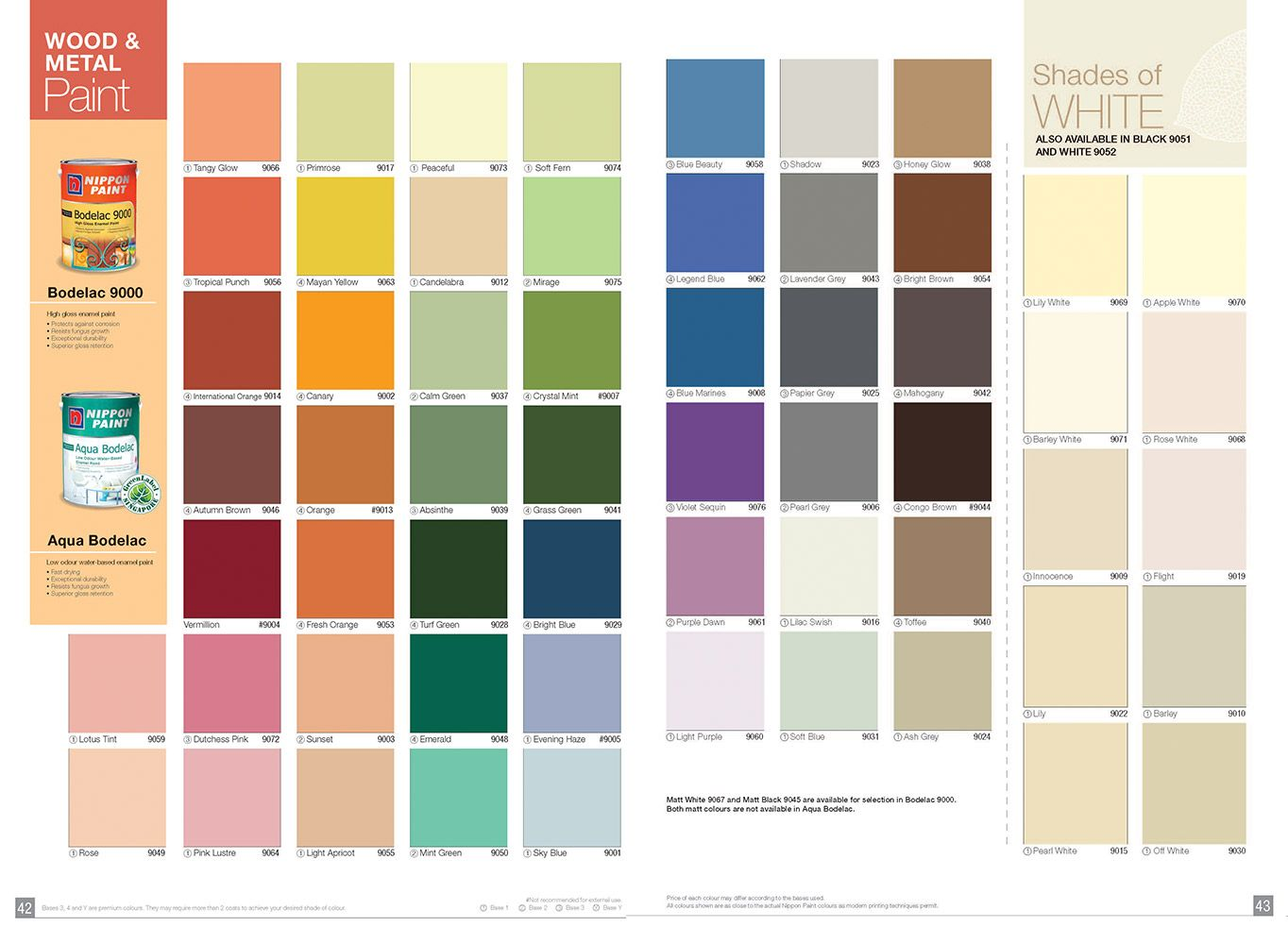 Nippon Paint Bodelac 9000 Nippon Paint Singapore Nippon Paint Paint Color Chart Paint Color Codes