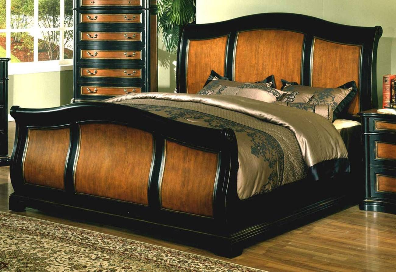 Great King Size Sleigh Bed for Main Bedroom Decor: Full Size Bed ...