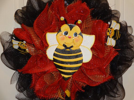 Wreath Spring And Summer Bumble Bee Wreath Door by VickiesCrafts