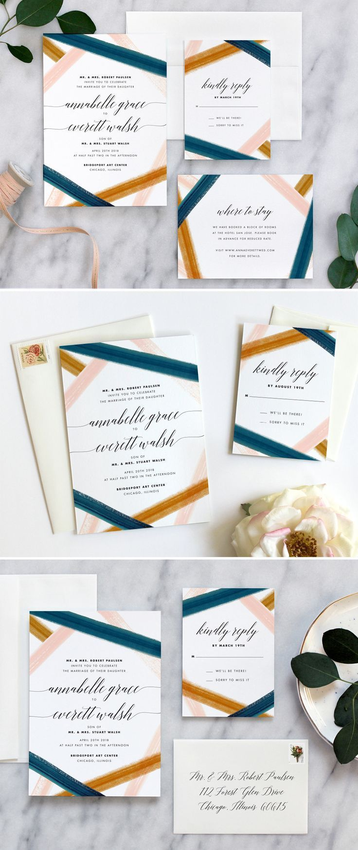 Modern wedding invitation by Fine Day Press #modernweddinginvitation ...