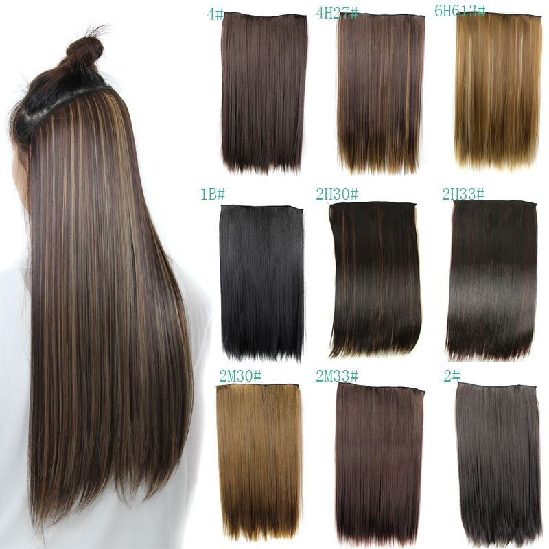 Real Natural Hair Extention Full Head Clip In Extensions Straight US UK Hairpiece Fast Shipping Factory Price