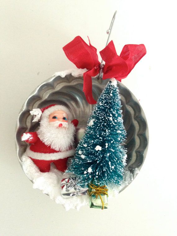 Vintage inspired jello tin Christmas diorama ornament with vintage santa and bottle brush tree