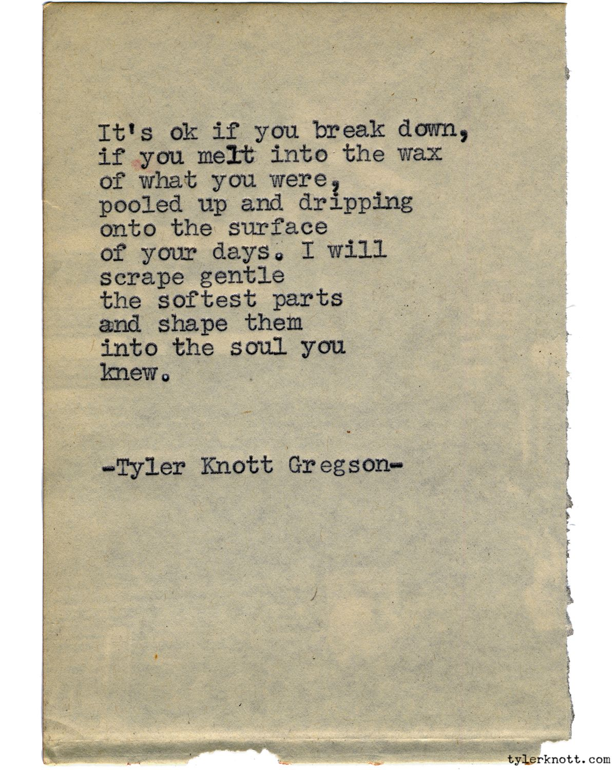 Typewriter Series 1189 By Tyler Knott Gregson Chasers Of The