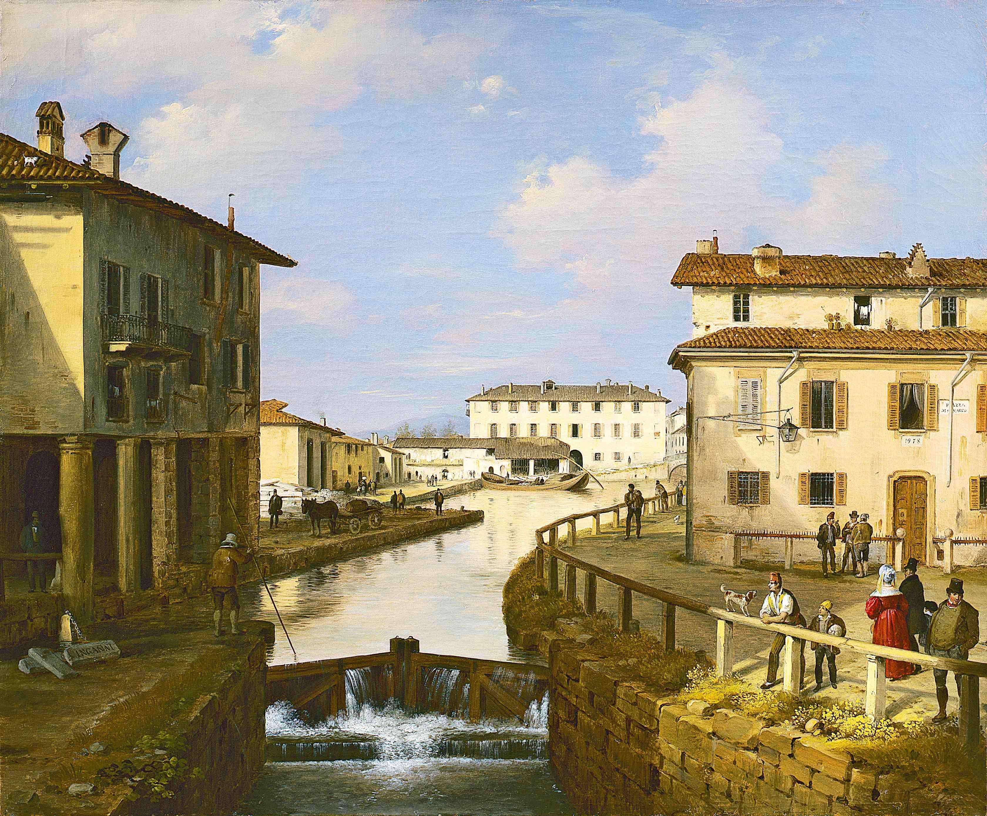 Angelo Inganni Il Naviglio Dal Ponte Di San Marco Gallerie D Italia Milano Milano Foto Storiche Pittore