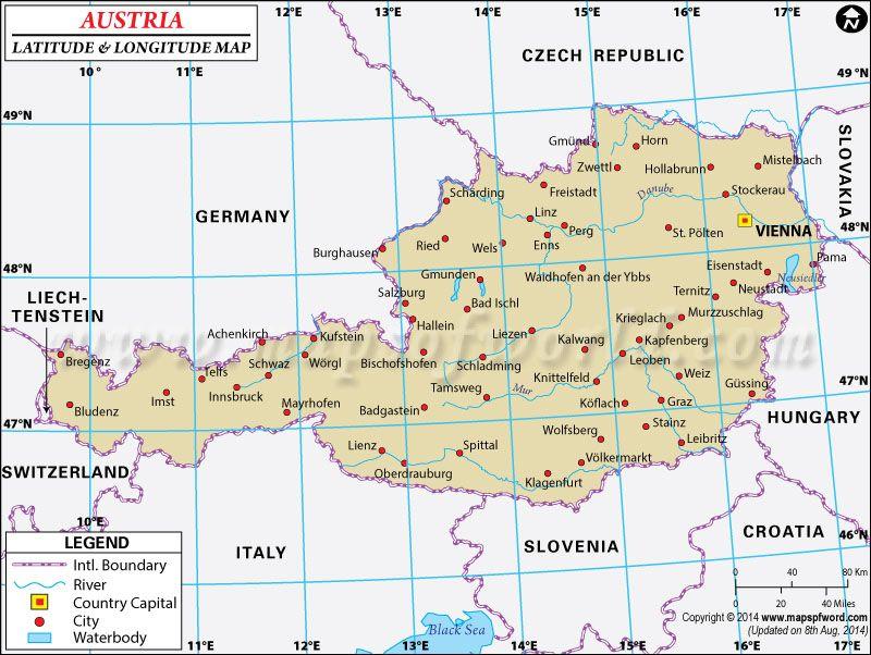 Austria Latitude And Longitude Map Tattoos Pinterest Tattoo - World map with longitudes