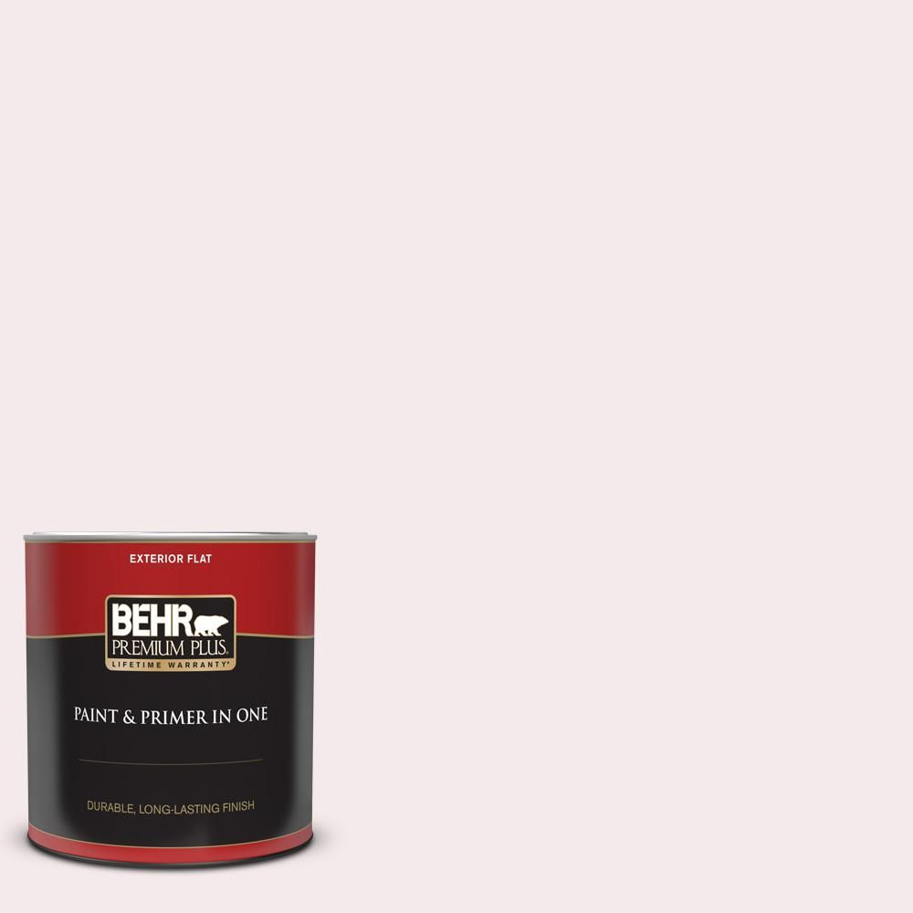 BEHR PREMIUM PLUS 1 qt. #680C-1 Wispy Pink Flat Exterior Paint and Primer in One-405004 - The Home Depot