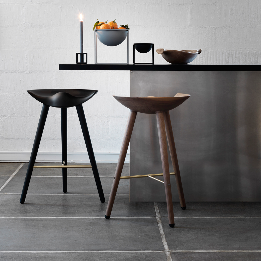 ML42 Counter Stool in Black with Steel, Brass or Copper