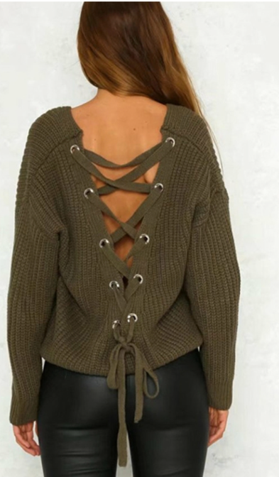 5ef9b9b1b Olive Sweater Lace Up Back Detail