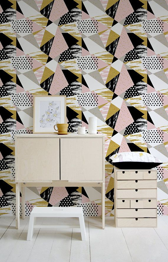 Removable Wallpaper Peel And Stick Wallpaper Wall Paper Wall Etsy Retro Wallpaper Wall Tiles Living Room Trendy Wall Decor