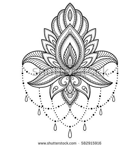 Henna tattoo flower template in Indian style. Ethnic floral paisley ...