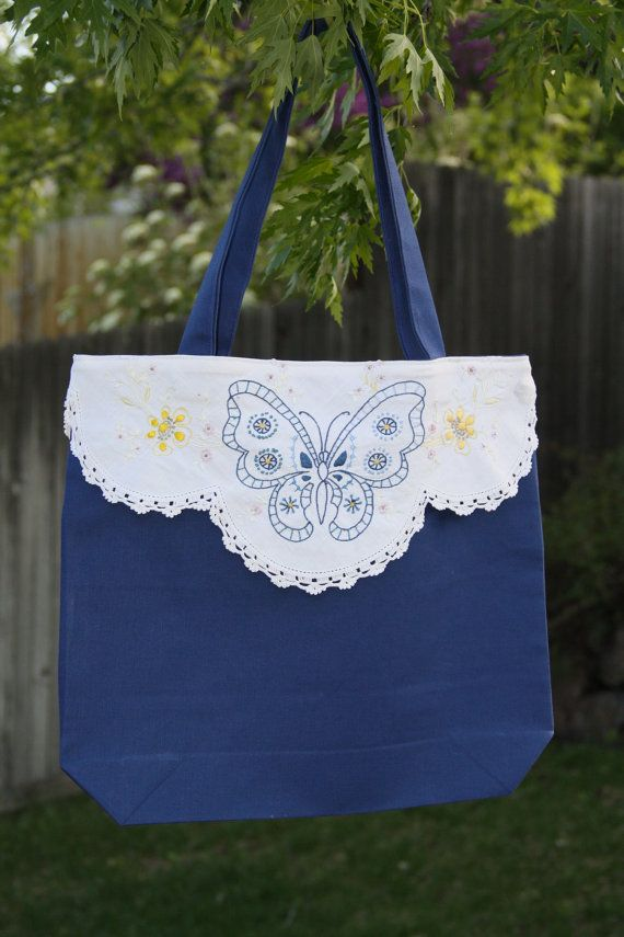 Upcycled blue tote with vintage embroidery by