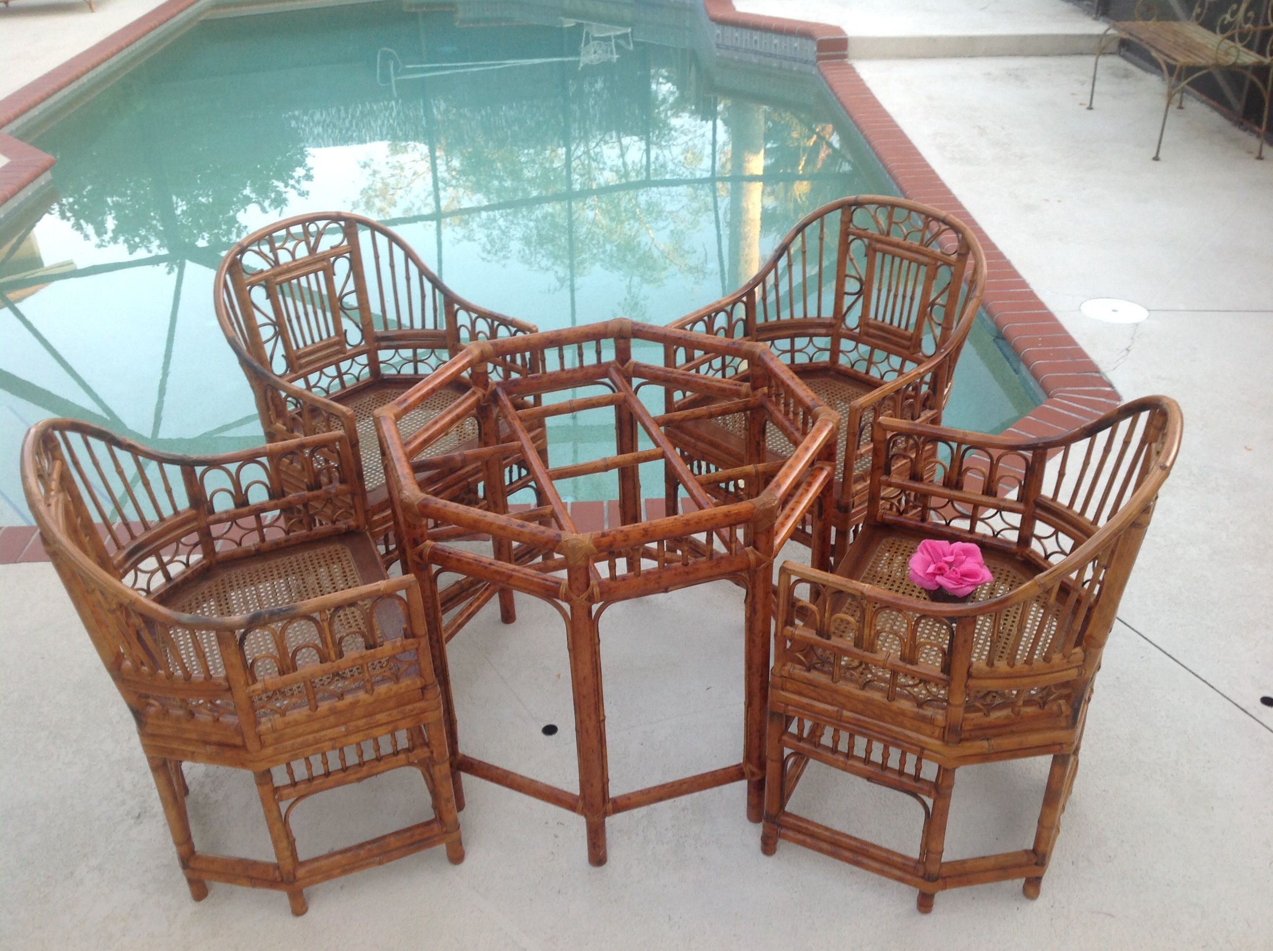 BAMBOO BRIGHTON STYLE Chairs / Set Of 4 Chinese Chippendale Rattan Chairs  Cane Seats Chinoiserie Pavillion Style Chairs At Retro Daisy Girl By ...