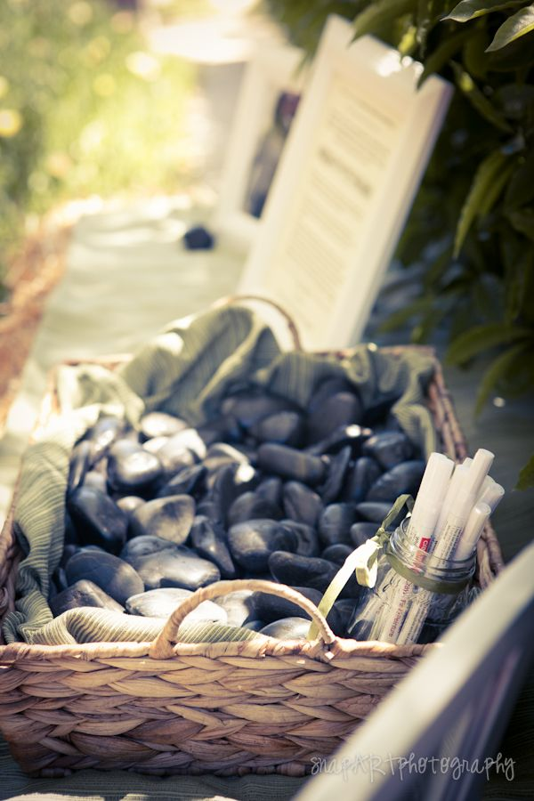 Delmar Events  Black Rocks For Wedding Guests To Sign Guest
