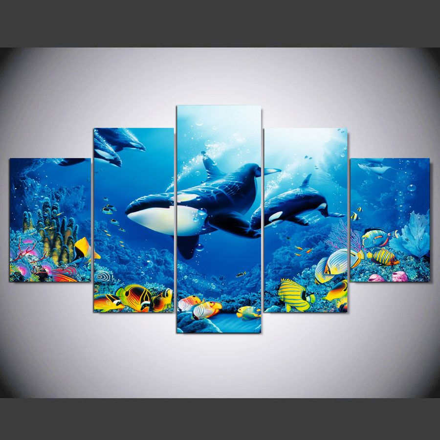 living room art prints%0A   Pieces Whale canvas painting pictures for living room the Beautiful sea  view modular canvas painting