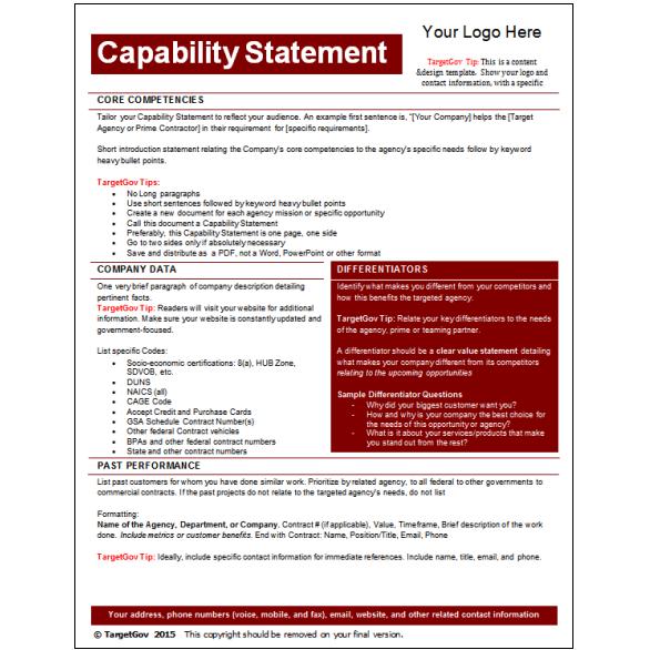 Capability Statement Editable Template
