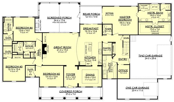 Country Style House Plan 4 Beds 3 5 Baths 3194 Sq Ft Plan 430 135 Country Style House Plans House Flooring Southern House Plans