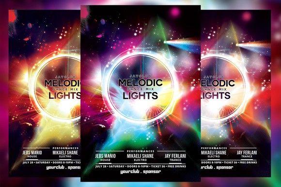 Melodic Dance Mix Lights Flyer