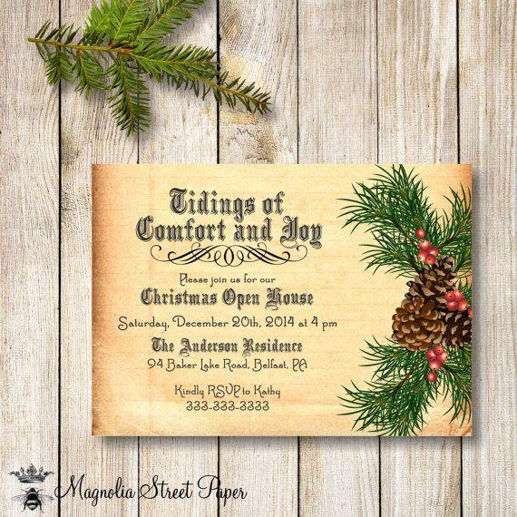 Open House Christmas Party Ideas Part - 30: Pine Christmas Party Invitation, Pinecone Christmas Party Invite, Vintage Holiday  Party Invite, Christmas. Christmas Open HouseMerry ...