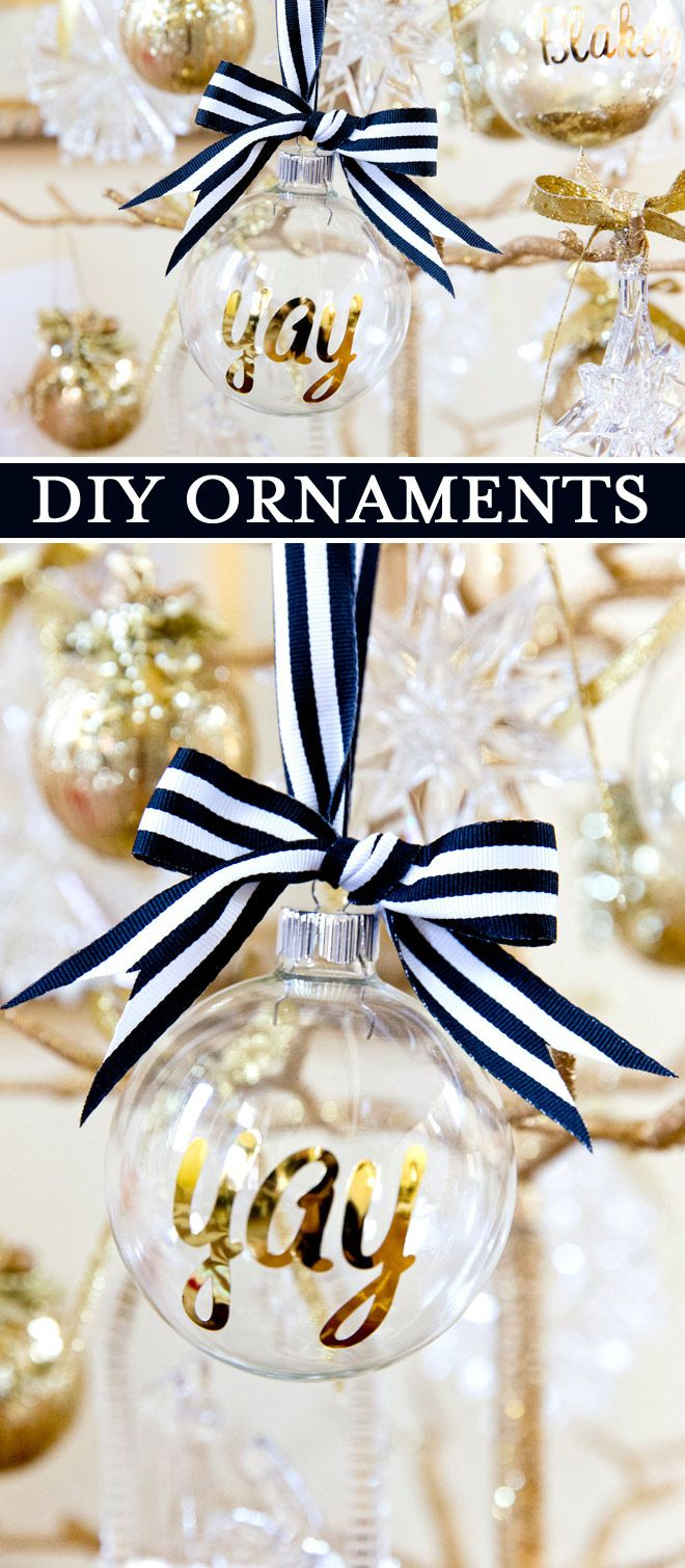 Black and gold christmas decorations - Tutorial How To Make Personalized Monogrammed And Custom Ornaments For The Christmas Tree