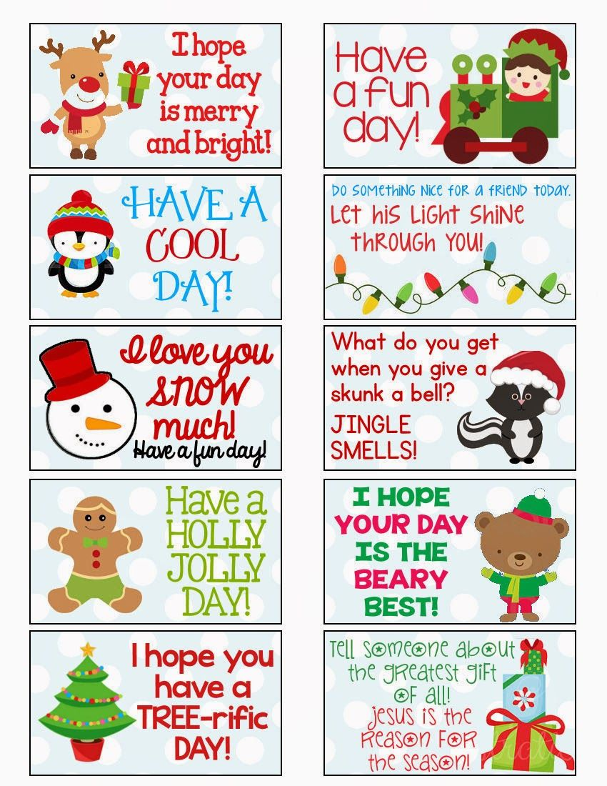 7 Free Printable Christmas Lunchbox Notes - Spaceships and ... |Christmas Lunch Box Notes