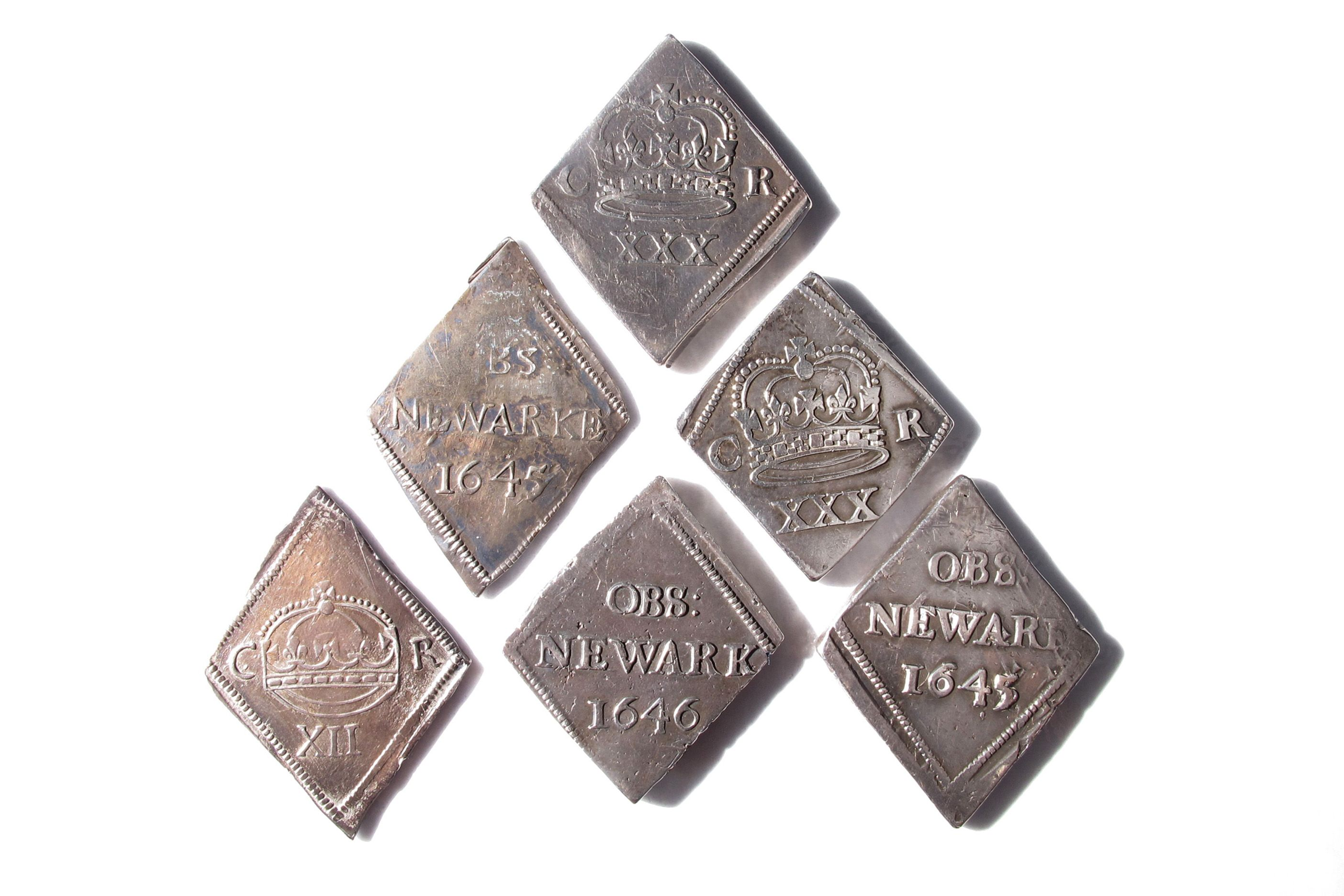Siege coins minted in Newark from silver plate during the