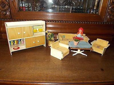 Puppenstube, Wohnzimmer Möbel, Modella, mit ARI Püppchen - barbie wohnzimmer möbel