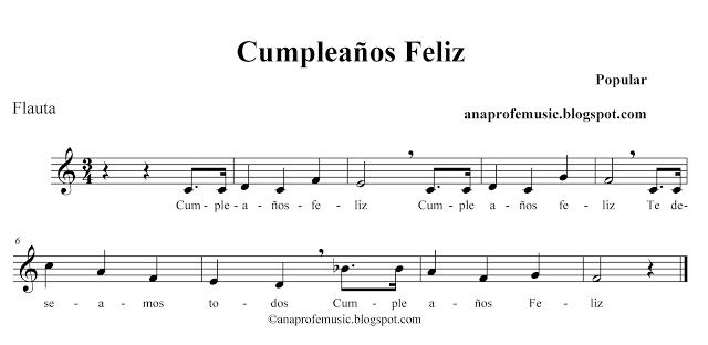 Anaprofemusic Partitura Cumpleanos Feliz Infantil En 2019