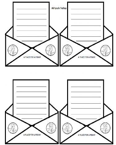 Chinuchorg  Mitzvah Note Template with Place for Tzedaka Money